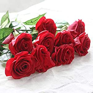 10pcs 11pcs/Lot Rose Artificial Flowers Real Touch Rose Flowers for New Year Home Wedding Decoration Party Birthday Gift,A Red 1,11pcs 23