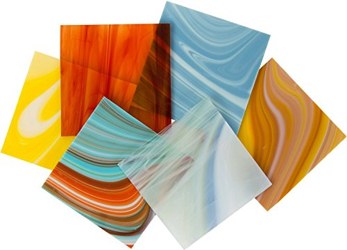 On Sale, Deluxe Assorted COE 90 Fusible Glass Pack - 4 X 4 Sheets - 6 ()
