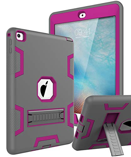 TOPSKY iPad Air 2 Case, iPad A1566/A1567 Kids Proof Case, Heavy Duty Shockproof Rugged Armor Defender Kickstand Protective Cover Case for iPad Air 2 Grey Pink (Ipad Air 2 Case 3 In One)