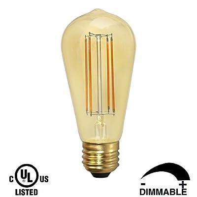 Dr.Lamp ST18 3W Edison Bulb,Vintage Light Bulbs,Equivalent 40W,Warm White 2200K Decorative Led Retrofit Lamps,Golden Tinted Glass E26 Medium Base Antique Lighting Bulb,Dimmable CUL Listed