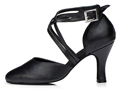 Toe Wrap TDA Ankle Latin Heel Leather Wedding Buckle Round Salsa Ballroom Black Modern Shoes Women's 8cm Tango Dance HUHqtW4E