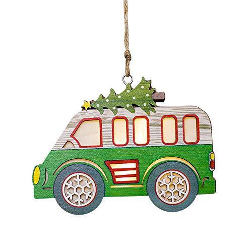 Alimao Clearance sale Christmas Decor Ornament LED Car Shape Luminous Wooden House Mall Window