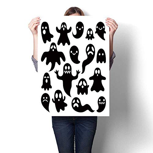 Canvas Wall Art Scary Ghosts Design Halloween Characters Icons Set Oils,32