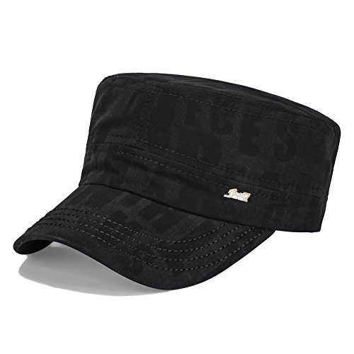 Vankerful Men's Twill Cotton Peaked Baseball Cap Cadet Army Cap Military Corps Hat Cap Visor Flat Top Adjustable Baseball Hat DFH200 Black