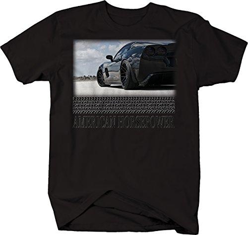 American Horsepower Corvette All Black Track Racing Tshirt - XLarge