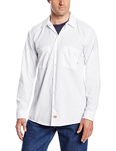 Dickies Occupational Workwear LL535WH XL Polyester/Cotton Mens Long Sleeve Industrial Work Shirt, Extra Large, White
