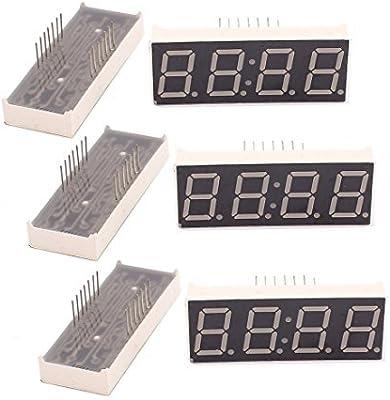 eDealMax 6 piezas DE 4 bits Tubo ánodo común Digital LED Módulo de pantalla Con reloj