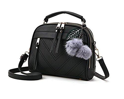 Classic Mini Satchel (Women Fashion Top-Handle Handbag Pu Leather Shoulder Bag Tote Purse Messenger Satchel Bags (Free, Black-1))
