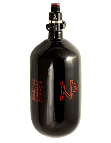 Ninja Paintball Carbon 4500 Tanks with Pro V2 Regulators (Super Lite Black w/STD Adj. Pressure Reg, 77ci)