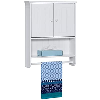 Best Choice Products Modern Contemporary Wood Bathroom Storage Organization Wall Cabinet w/Open Cubby, Adjustable Shelf, Double Doors, Towel Bar, Wainscot Paneling - White - SPLIT DOOR DESIGN: Wall cabinet is made with a split wainscot door design that opens for storage, as well as a slate open shelf to place additional items or decor FULL-WIDTH TOWEL BAR: Features a sturdy bar at the bottom that is excellent for hanging bath towels, washcloths, and hand towels SPACIOUS INTERIOR: The cabinet's interior is designed with an adjustable shelf, allowing for manipulation to fit larger items as needed - shelves-cabinets, bathroom-fixtures-hardware, bathroom - 41 rfUiUTUL. SS400  -