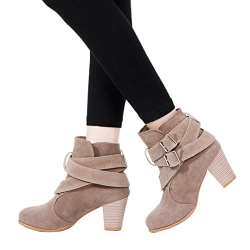 Bed 35' Khaki - Gyoume High Heel Boots Women Ankle Boots Winter Buckle Boots Shoes Peep Toe Boots Dress Shoes