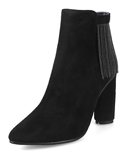 Bloc Talon Noir Bottines Pointues Confort Boots Femme Low Aisun Franges wtazqxI1S
