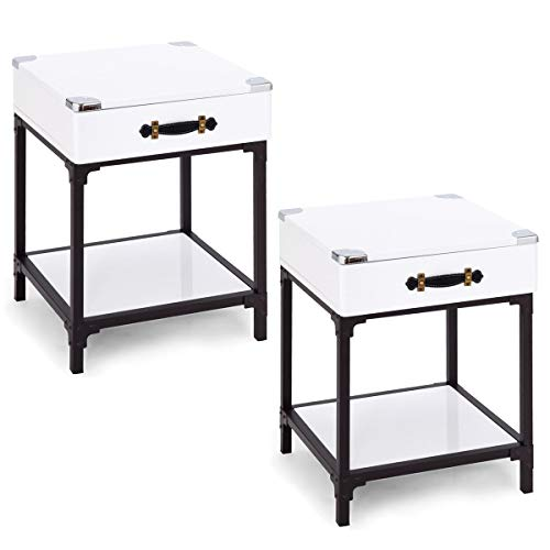 Giantex 2 Pcs Sofa Table Side End Table with Drawer and Shelf for Living Room Essentials Accent Table Board with Metal Frame Nightstand 1, One Drawer Shelf