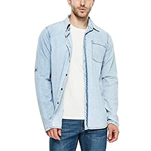 Denim Shirt for Men Cotton Standard-Fit Long-Sleeve Shirts