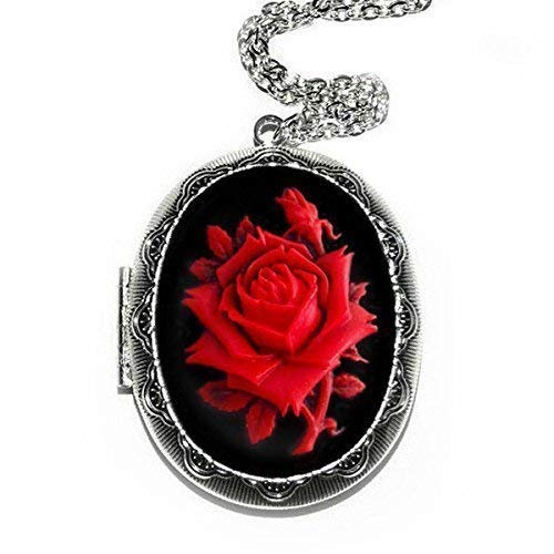 (Red Rose Cameo Locket Necklace Pendant)