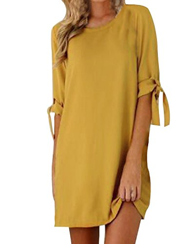 Kidsfrom Women Mini T-Shirt Dress Summer Short Tie Sleeve Loose Crew Neck Causal Dresses Yellow 2XL from Kidsform