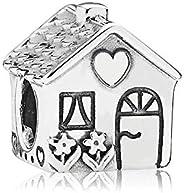 Romántico Amor Christams House of Santa Charms Cherry Enamel Silver Bead Fit Pandora Bracelet Jewelry