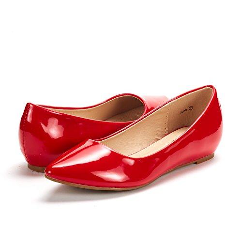 DREAM PAIRS Damen Jilian Low Wedge Wohnungen Schuhe Rote Pat