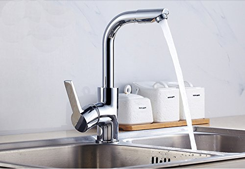 Basin Faucet with 360° Rotate Good Valued Modern Hot& Cold Single Handle Bathroom luxury Sink Faucet, Chrome Finish by MUZHI (Image #1)