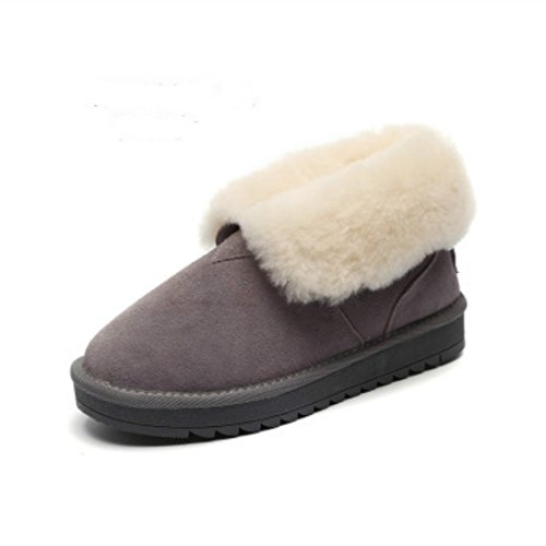 Moda Donna Inverno Caldo Neve Stivali Grigi