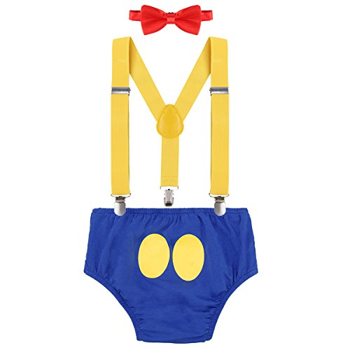 FYMNSI Baby Boys 1st/2nd/3rd Birthday Cake Smash Donald Duck Outfits Bloomers Suspender Bowtie Photo Shoot Costume 6-12M