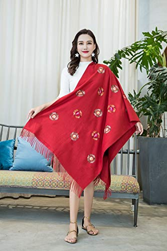 JYJSYMFZScarf Shawl Spring Autumn Winter New Embroidery Imitation Cashmere National Wind Embroidered Beaded Warm Tassel, 11 red, 200cm with Tassel Warm Sun Shade Decorative dust Sunscreen ()
