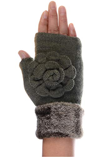 LL- Winter Knit Fingerless Gloves Fleece Lined Assorted Patterns Colors