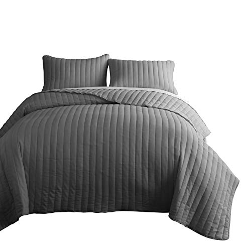Chezmoi Collection Colin 3-Piece Channel Stitch Cotton Quilt Set (Gray, King)