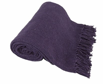 Kakaos Cotton Solid Color Yoga Blankets With Matching Tassels (Purple)