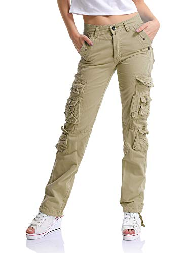 OCHENTA Women's Multi Pockets Utility Cargo Pants, Casual Cotton Straight Leg Khaki 30-US -