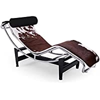 Kardiel Gravity Chaise Lounge, Brown & White Cowhide