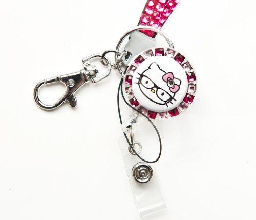 (Set of Pink Rhinestone Lanyard and NERD Hello Kitty Id Badge Reel)