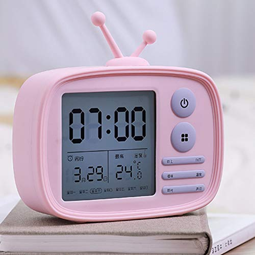 - Paraclement USB Charging Digital Alarm Clock, Temperature Display, Cartoon TV Shape, Children's Gifts, Pink
