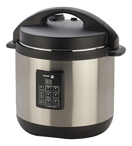 Fagor 3-in-1 6-Quart Multi-Use Pressure Cooker, Slow Cooker and Rice Cooker, Stainless-Steel – 670040230