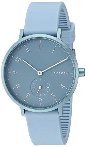 Skagen Men Annelie Quartz Stainless Steel and Silicone Watch Color: Light Blue, (Model: SKW2764)