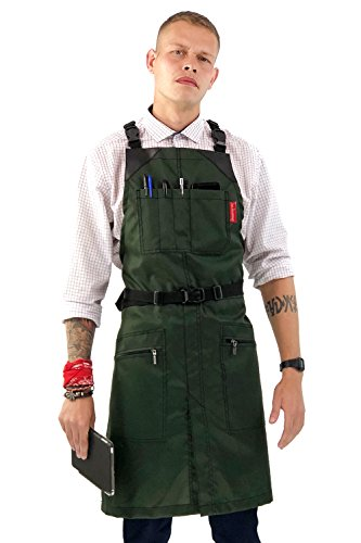 Under NY Sky Cross-Back Barber Green Apron – Heavy-Duty Nylon, Water and Chemical Resistant, Zipped Pockets, No-Tie, Split-Leg – Adjustable for Men, Women – Pro Hair Stylist, Salon, Colorist, Artist by Under NY Sky