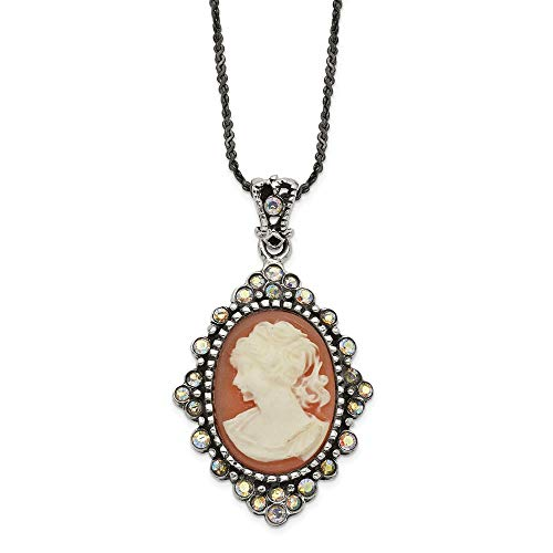 925 Sterling Silver Resin Cameo Crystal Pendant On 16 Inch Chain Necklace Charm Fine Jewelry Gifts For Women For Her ()
