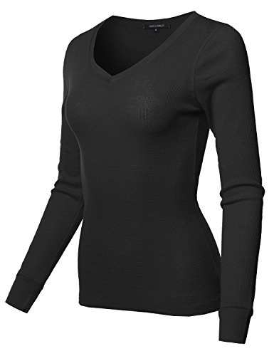 al Solid Long Sleeve V-Neck Thermal Tops Black Size XL (Fitted Thermal)