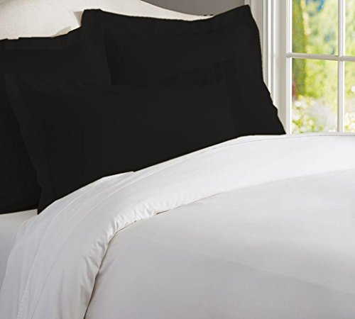 Kotton Culture Set of 2 Pillow Shams Set 100% Egyptian Cotton 600 Thread Count Premium Hotel Quality Bedding (Standard Size- Queen/Full/Twin, Black)