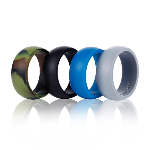 Silicone Wedding Ring Band-4 Pack-Safe Flexible Comfortable Medical Grade Love Rings Set for Men Women- Fit for Sports & Outdoors, Workout, Fitness, Athletes, Engineers+ Gift Box-Syourself (Men 8)