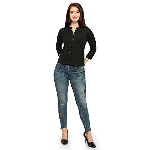 5bb6a8257f7515 Vrati Fashion Women Tunic Short Top for Jeans Plain Diamond Creap Top for Daily  wear Stylish Casual and Western Wear Women/Girls Top
