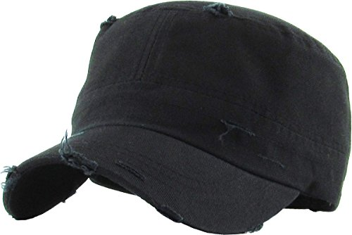 (KBETHOS KBK-1466 BLK Pure Cotton Twill Adjustable Cadet GI Hat)