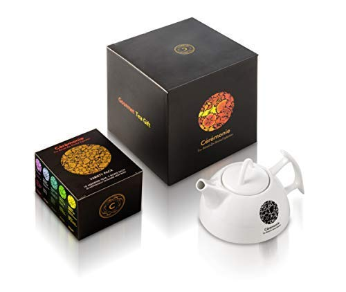 Tea with Love Gift Set & Gourmet Variety Sampler, by Ceremonie Tea. PERFECT FOR FATHER'S DAY. Organized in 10 Assorted Sample Flavors, 2 Each Mini Cube Tea Bags and Beautiful Porcelain Tea Pot