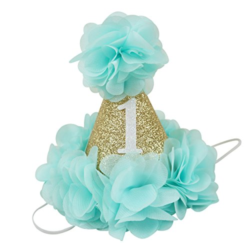 [PoshPeanut Beautiful Baby Crown Headband Princess First Birthday Cone Hat Sparkle Aqua and Gold Made in the] (Homemade Monkey Costumes For Babies)