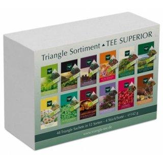 TEE SUPERIOR Set mit 48 Triangle Sachets - Tee Geschenkset / Tee Probierset, 142 g
