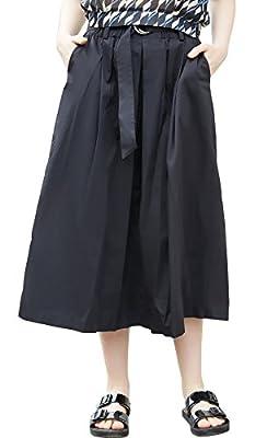 Women's Belt Stylish Elastic Waist Perfect Flare Pleated Midi Skirt Pocket