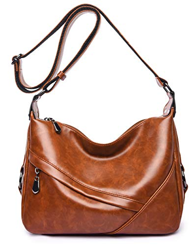 Women's Retro Sling Shoulder Bag from Covelin, Leather Crossbody Tote Handbag New Brown