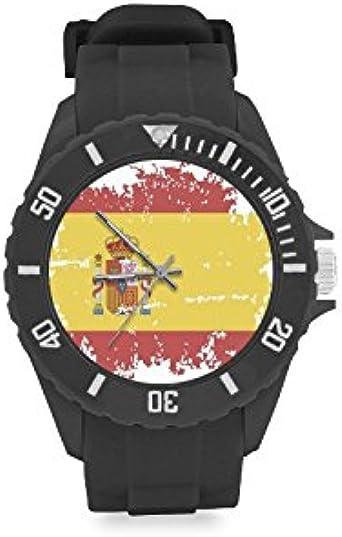 Reloj de pulsera de diseño vintage con bandera de España roja y amarilla, correa de goma, reloj de pulsera casual Anolog de cuarzo: Amazon.es: Relojes