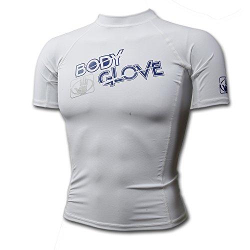 (Body Glove Basic Rash Guard for Boys Short Sleeves Swimwear Nylon/Spandex White, Sz 12 UVP 50 )