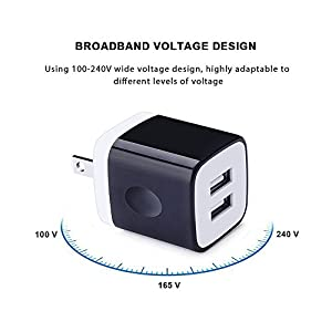 iPhone Charging Block, USB Charger Brick Base, FiveBox 2-Pack Dual Port Wall charger Plug 2.1A Fast Charger Cube Phone Charger Box for iPhone 7/7 Plus, 6, 6S Plus, Samsung S8 S7 S6 Note 5 4, iPad,Moto